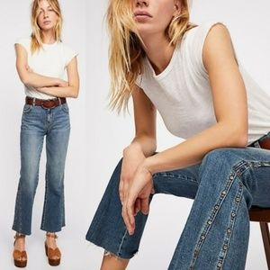 FREE PEOPLE Studded Novelty Ranger Flare Jeans